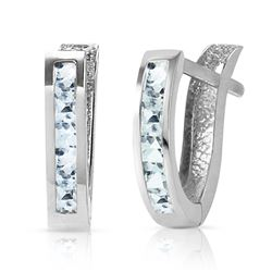 ALARRI 0.85 Carat 14K Solid White Gold Oval Huggie Earrings Aquamarine