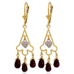 ALARRI 6.33 Carat 14K Solid Gold Chandelier Diamond Earrings Garnet