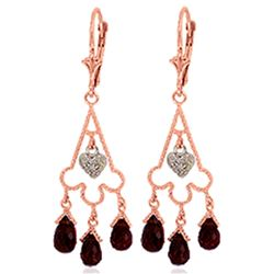 ALARRI 6.33 Carat 14K Solid Rose Gold Chandelier Diamond Earrings Garnet