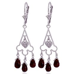 ALARRI 6.33 CTW 14K Solid White Gold Chandelier Diamond Earrings Garnet