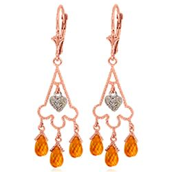 ALARRI 4.23 Carat 14K Solid Rose Gold Chandelier Diamond Earrings Citrine