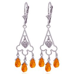 ALARRI 4.23 Carat 14K Solid White Gold Chandelier Diamond Earrings Citrine