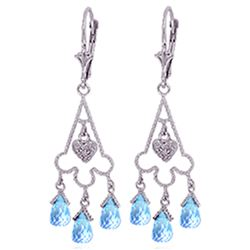 ALARRI 4.83 Carat 14K Solid White Gold Chandelier Diamond Earrings Blue Topaz