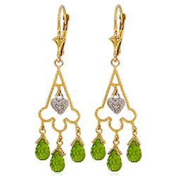 ALARRI 4.83 Carat 14K Solid Gold Chandelier Diamond Earrings Peridot
