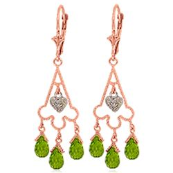 ALARRI 4.83 Carat 14K Solid Rose Gold Chandelier Diamond Earrings Peridot