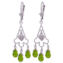 ALARRI 4.83 CTW 14K Solid White Gold Chandelier Diamond Earrings Peridot