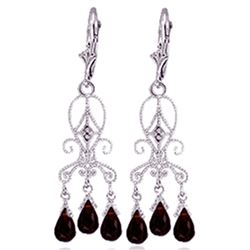 ALARRI 6.31 Carat 14K Solid White Gold Love Is Patient Garnet Diamond Earrings