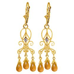 ALARRI 4.21 CTW 14K Solid Gold Chandelier Diamond Earrings Citrine