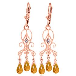 ALARRI 4.21 Carat 14K Solid Rose Gold Chandelier Diamond Earrings Citrine