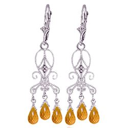 ALARRI 4.21 CTW 14K Solid White Gold Chandelier Diamond Earrings Citrine