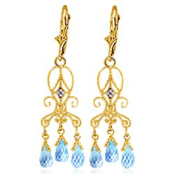 ALARRI 4.81 Carat 14K Solid Gold Chandelier Diamond Earrings Blue Topaz
