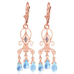 ALARRI 4.81 Carat 14K Solid Rose Gold Chandelier Diamond Earrings Blue Topaz