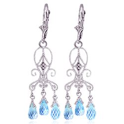 ALARRI 4.81 Carat 14K Solid White Gold Chandelier Diamond Earrings Blue Topaz