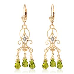 ALARRI 4.51 Carat 14K Solid Gold Chandelier Diamond Earrings Peridot