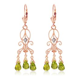 ALARRI 4.51 Carat 14K Solid Rose Gold Chandelier Diamond Earrings Peridot