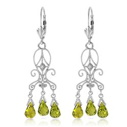 ALARRI 4.51 Carat 14K Solid White Gold Chandelier Diamond Earrings Peridot