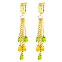 ALARRI 7.3 CTW 14K Solid Gold Chandelier Earrings Peridot Citrine