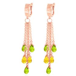 ALARRI 7.3 Carat 14K Solid Rose Gold Chandelier Earrings Peridot Citrine