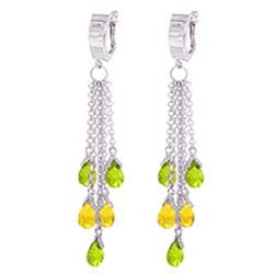 ALARRI 7.3 CTW 14K Solid White Gold Chandelier Earrings Peridot Citrine