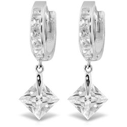 ALARRI 14K Solid White Gold Dangling Cubic Zirconia Hoop Earrings