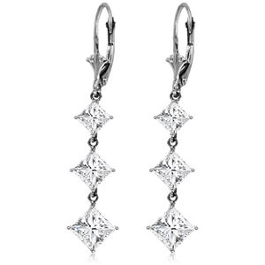 ALARRI 14K Solid White Gold Cubic Zirconia Leverback Chandelier Earrings