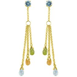 ALARRI 5.75 CTW 14K Solid Gold Chandelier Earrings Blue Topaz, Citrine