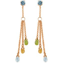 ALARRI 14K Solid Rose Gold Chandelier Earrings w/ Blue Topaz, Citrines & Peridots