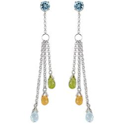 ALARRI 14K Solid White Gold Chandelier Earrings w/ Blue Topaz, Citrines & Peridots