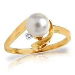 ALARRI 1.01 CTW 14K Solid Gold Ring Natural Diamond Pearl