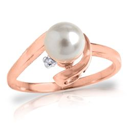 ALARRI 1.01 Carat 14K Solid Rose Gold Ring Natural Diamond Pearl
