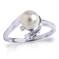 ALARRI 1.01 Carat 14K Solid White Gold Ring Natural Diamond Pearl