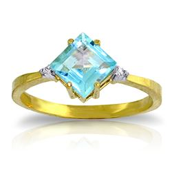 ALARRI 1.77 CTW 14K Solid Gold Ring Diamond Blue Topaz