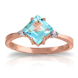 ALARRI 1.77 CTW 14K Solid Rose Gold Ring Diamond Blue Topaz