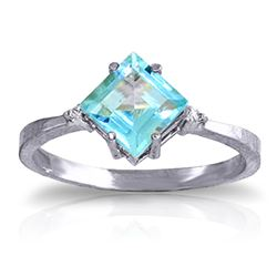 ALARRI 1.77 Carat 14K Solid White Gold Ring Diamond Blue Topaz
