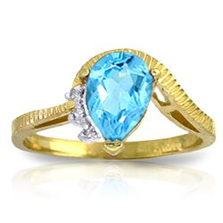 ALARRI 1.52 Carat 14K Solid Gold Homecoming Blue Topaz Diamond Ring