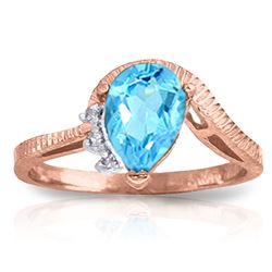 ALARRI 1.52 Carat 14K Solid Rose Gold Azur Blue Topaz Diamond Ring