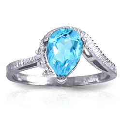 ALARRI 1.52 Carat 14K Solid White Gold Justify My Truth Blue Topaz Diamond Ring