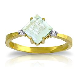 ALARRI 1.77 Carat 14K Solid Gold Ring Diamond Aquamarine