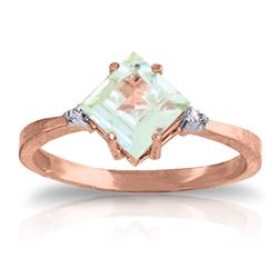 ALARRI 1.77 Carat 14K Solid Rose Gold Ring Diamond Aquamarine