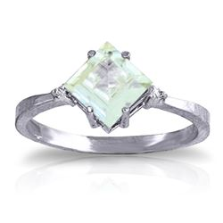 ALARRI 1.77 Carat 14K Solid White Gold Ring Diamond Aquamarine