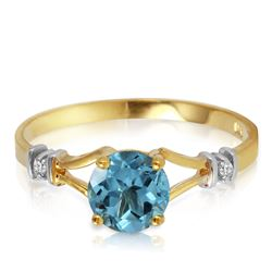 ALARRI 1.02 CTW 14K Solid Gold Love's Ingredient Blue Topaz Diamond Ring