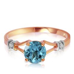 ALARRI 1.02 Carat 14K Solid Rose Gold Cathy Blue Topaz Diamond Ring