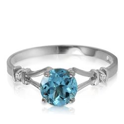 ALARRI 1.02 CTW 14K Solid White Gold Reveal How Blue Topaz Diamond Ring