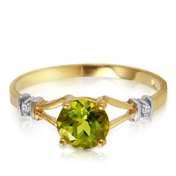 ALARRI 0.87 Carat 14K Solid Gold Love Requiem Peridot Diamond Ring
