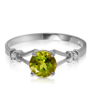 ALARRI 0.87 CTW 14K Solid White Gold Mozart Music Peridot Diamond Ring