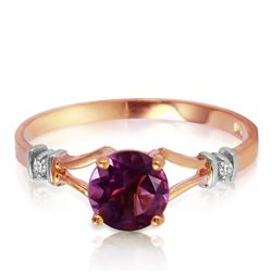ALARRI 0.92 Carat 14K Solid Rose Gold Cathy Amethyst Diamond Ring