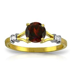 ALARRI 1.07 CTW 14K Solid Gold Garnet Rules Garnet Diamond Ring
