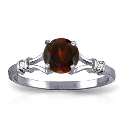 ALARRI 1.07 Carat 14K Solid White Gold Pursuit Of Happiness Garnet Diamond Ring