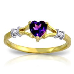 ALARRI 0.47 Carat 14K Solid Gold Rings Natural Diamond Purple Amethyst