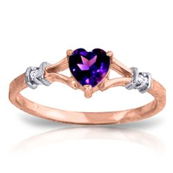 ALARRI 0.47 Carat 14K Solid Rose Gold Rings Natural Diamond Purple Amethyst